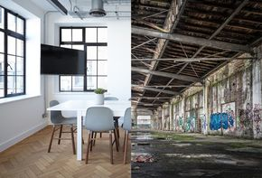 Industrial hall with open space
